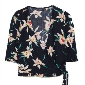 Zara black floral wrap front ruffle crop top